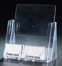 Flyer stand with business card holders black sms for Flyer and business card holder