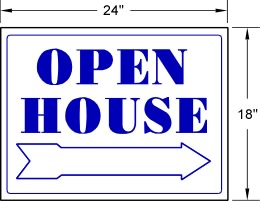 BLUE Open House PVC Sign