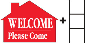 Welcome Please Come In-House-Red print